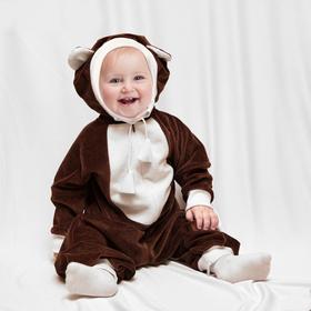 Карнавальный комбинезон для малышей 'Мишка' с игрушкой, велюр, рост 68-92 см, 1-2 года Ош