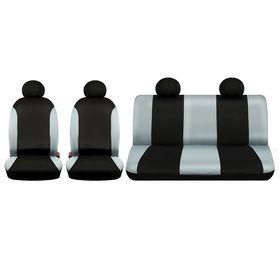 Авточехлы универcальные TORSO, набор 6 предметов, 2 подголовника, чёрно-серые,
