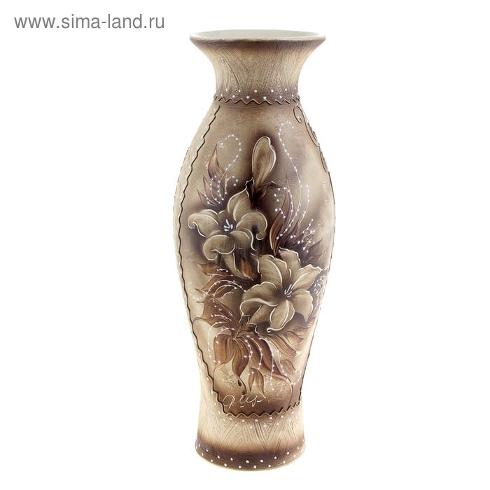 """Ваза напольная """"Эллада"""" жемчуг, цветы"""