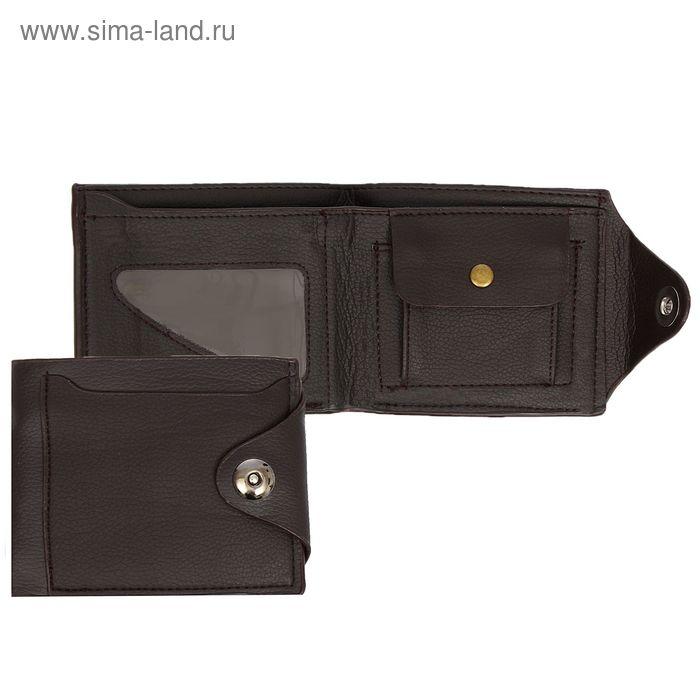 """Портмоне """"Тод"""", 3 отдела, отдел для монет, отдел для карт, 1 наружный карман, коричневый"""