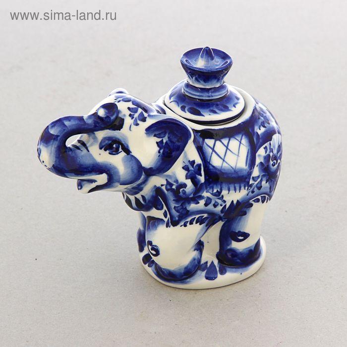 Чайница «Слон», гжель, кобальт