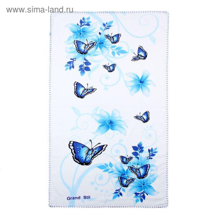 """Полотенце """"Этель"""" Весна голубой 48*90 см, 100% хлопок, велюр, 400гр/м2"""