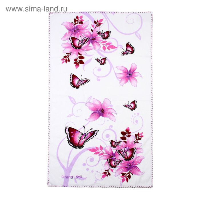 """Полотенце """"Этель"""" Весна фиолетовый 48*90 см, 100% хлопок, велюр, 400гр/м2"""