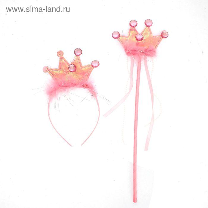 """Карнавальный набор """"Принцесса"""" 2 предмета: жезл, ободок"""