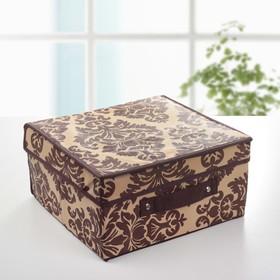 """Короб для хранения с крышкой, 30х28х15 см """"Вензель"""", цвет коричнево-бежевый"""