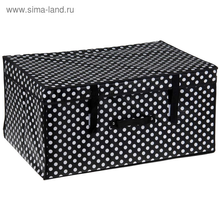 """Короб для хранения с крышкой 60х40х30 см """"Горошек"""", цвет черно-белый"""