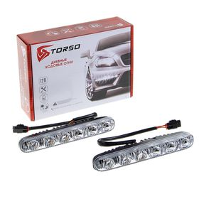 Дневные ходовые огни TORSO DRL-6-5-1, 6 LED, 12 Вт, 12 В, 2 шт, металл, черный