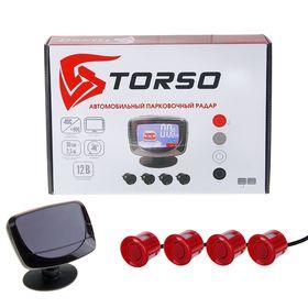 Парктроник TORSO TP-304, 4 датчика, LСD-экран, биппер, 12 В, датчики красные