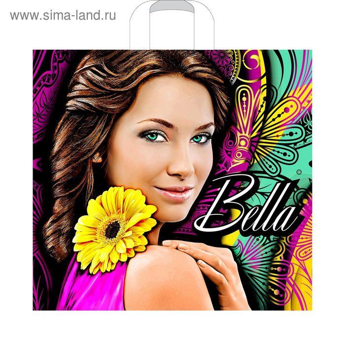 """Пакет """"Белла желтый цветок"""", полиэтиленовый с петлевой ручкой, 40 х 36 см, 70 мкм"""