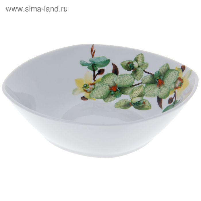 """Салатник квадратный 550 мл """"Орхидея зеленая"""""""