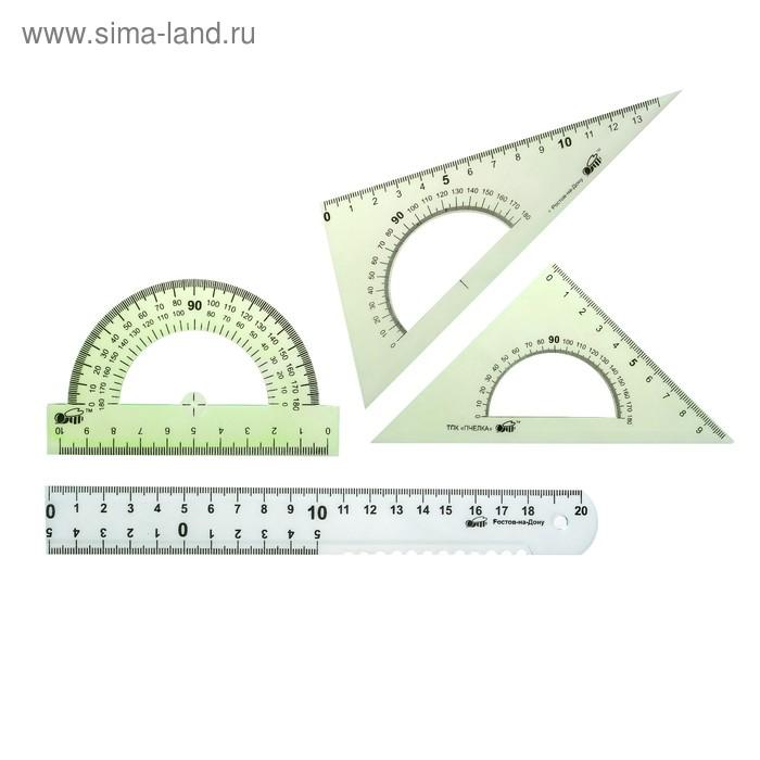 Набор геометрический средний (линейка 20см, транспортир, 2 треугольника)