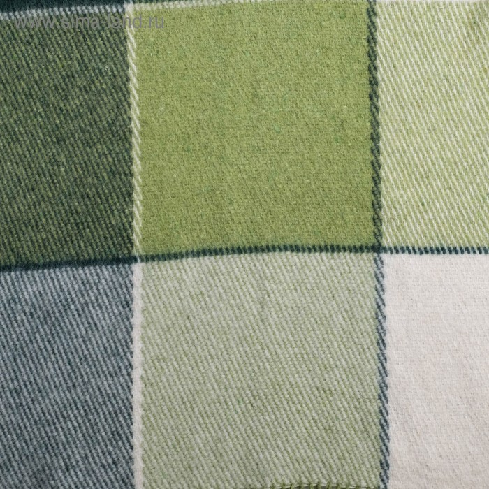 "Плед шерстяной ""Эльф"", размер 200х220 см, цвет белый/салатовый/зелёный"