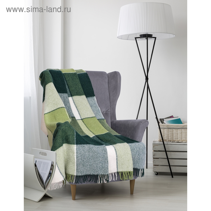 "Плед шерстяной ""Эльф"", размер 140х200 см, цвет белый/салатовый/зелёный"