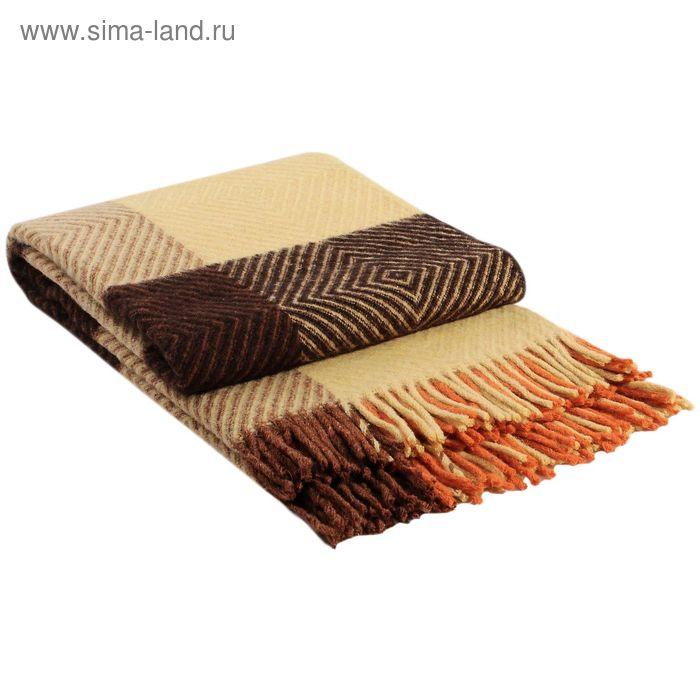 """Плед шерстяной """"Скиф"""", размер 140х200 см, цвет жёлтый/оранжевый/терракот/коричневый"""