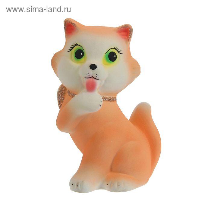 """Копилка """"Кошка с бантом"""" флок, персиковая"""
