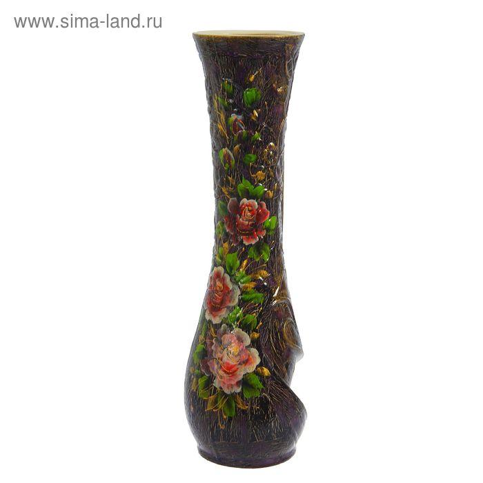 """Ваза напольная """"Бамбук"""" кракелюр, фиолетовая"""
