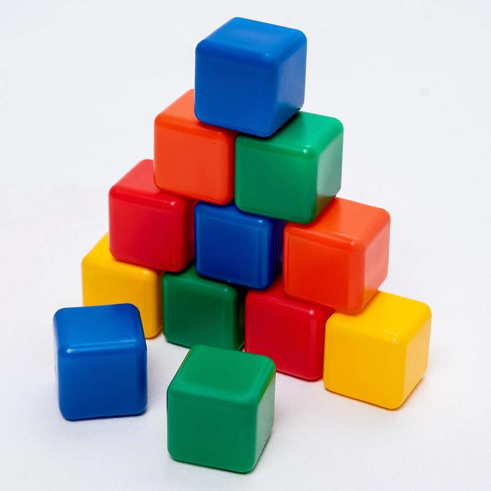 Набор цветных кубиков, 12 штук 4 х 4 см