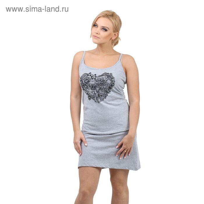 "Сорочка Collorista ""Кружево"" р-р L(48), серый меланж"