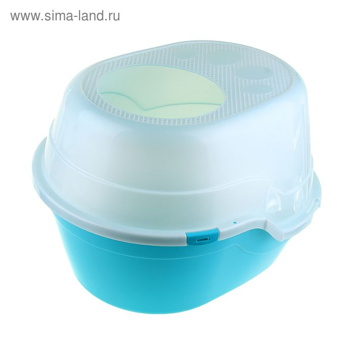 Туалет большой с крышей, 52 х 55 х 43 см, голубой/белый