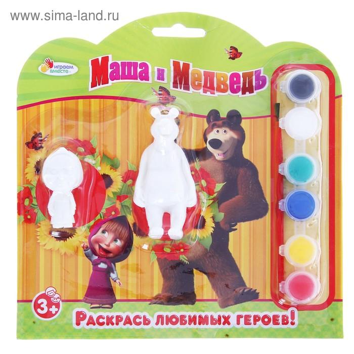 "Набор-раскраска ""Маша и Медведь"", 2 фигурки,кисточка + краски"