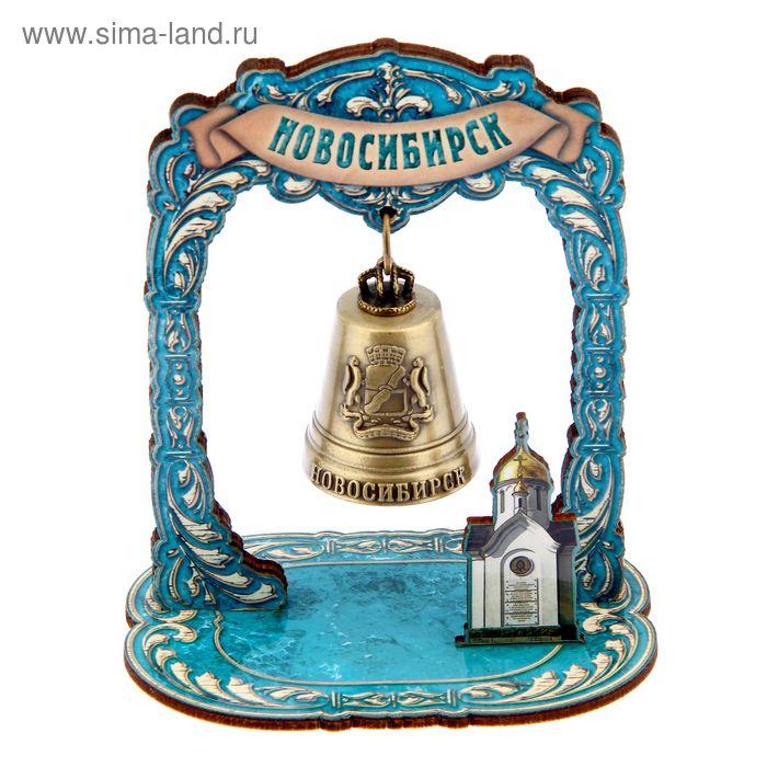 """Колокольчик в деревянной рамке """"Новосибирск"""""""