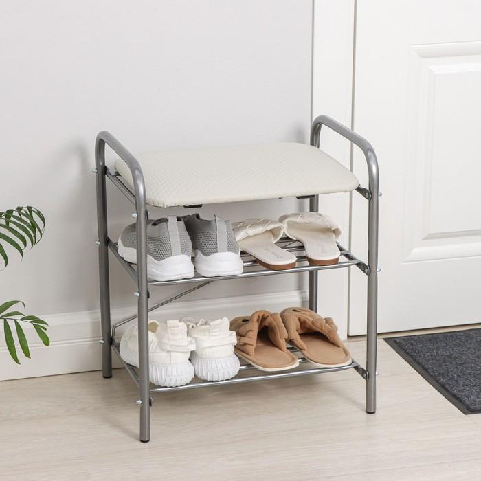 Банкетка для обуви 33 см, мягкое сиденье, цвет серый