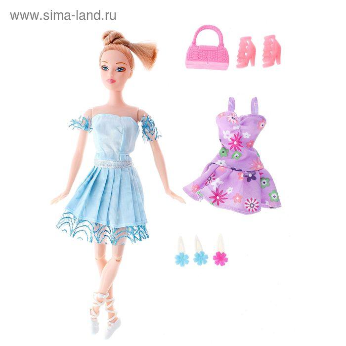 "Кукла шарнирная, ""Балерина"" с аксессуарами, цвета МИКС в пакете"
