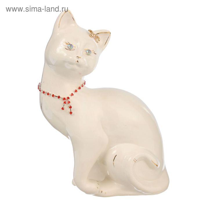 """Копилка """"Кошка Шарлотта"""" глазурь, белая, цепочка"""