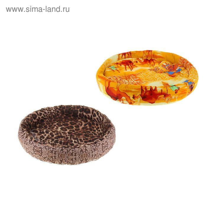 """Лежанка для животных """"Ватрушка"""", диаметр 70 см, микс цветов"""