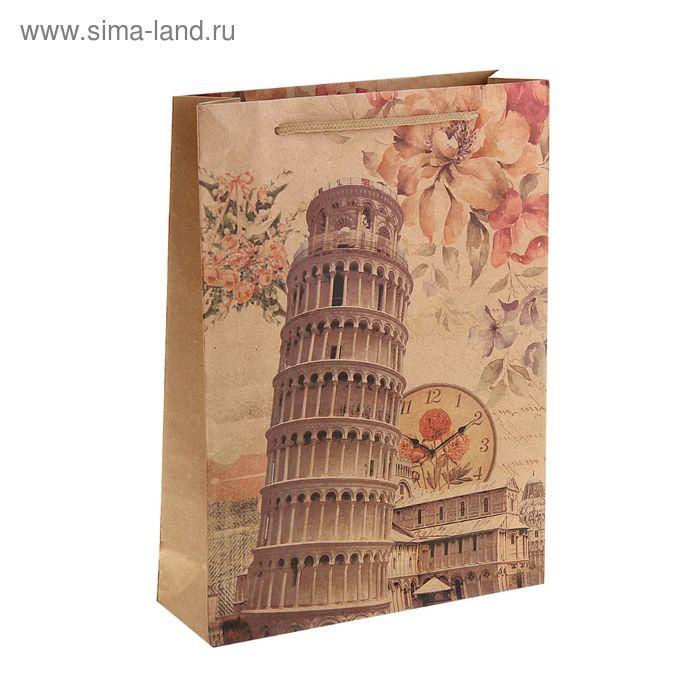 """Пакет крафт """"Пизанская башня"""", 31,5 х 10 х 42 см"""