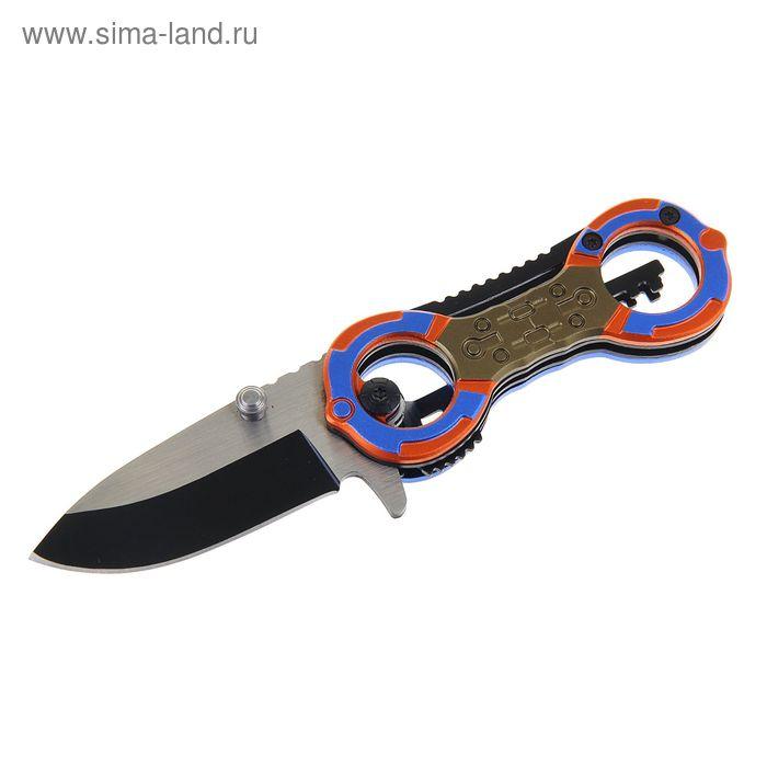 Нож складной неавтоматический с фиксатором, рукоять сине-оранжевая