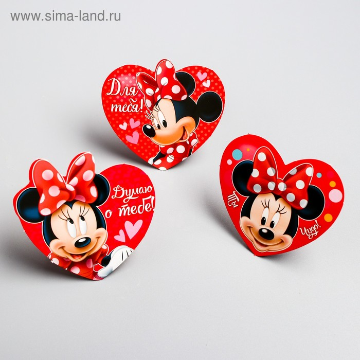 """Набор открыток валентинок на подложке """"Люблю тебя"""", 6 шт, Минни Маус"""