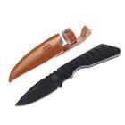 Нож нескладной, 16 см, чёрный, в чехле, рукоять с насечками