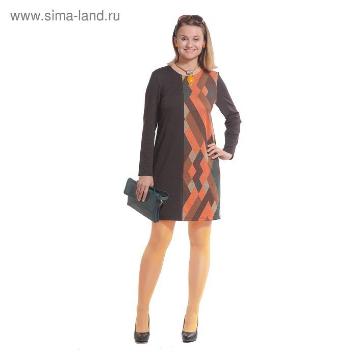 Платье женское 3981, размер 48, цвет коричневый/рисунок