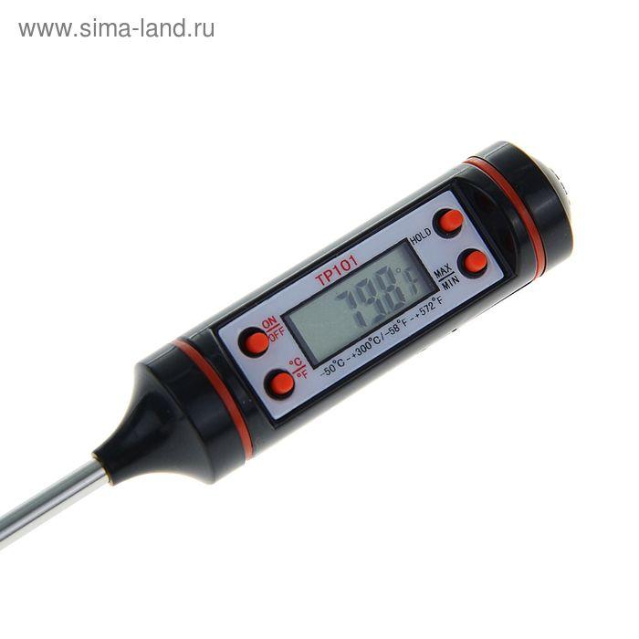Термометр кухонный электронный ТР101 14,5см, батарейка AG13, -50 до +300 град. чёрный