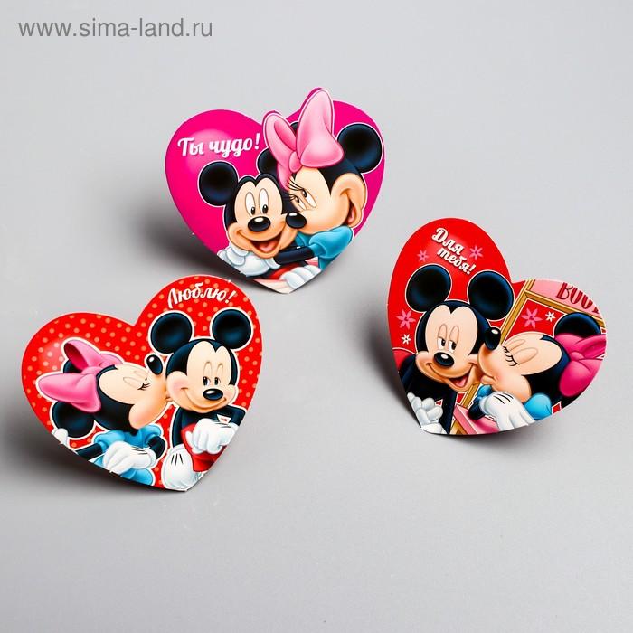 """Набор открыток валентинок на подложке """"Ты мое счастье"""", 6 шт, Микки Маус и друзья"""