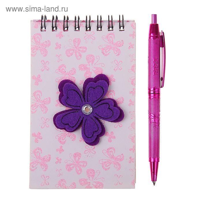 Блокнот А6 30л лин на гребне с ручкой в пластиковой коробочке Цветок