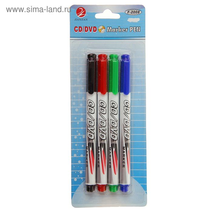 Набор маркеров для CD/DVD 4 цвета 2,0мм на блистере (красный, чёрный, синий, зелёный)