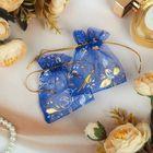 Мешочек подарочный рисунок МИКС, 7*9 см, цвет синий с золотом