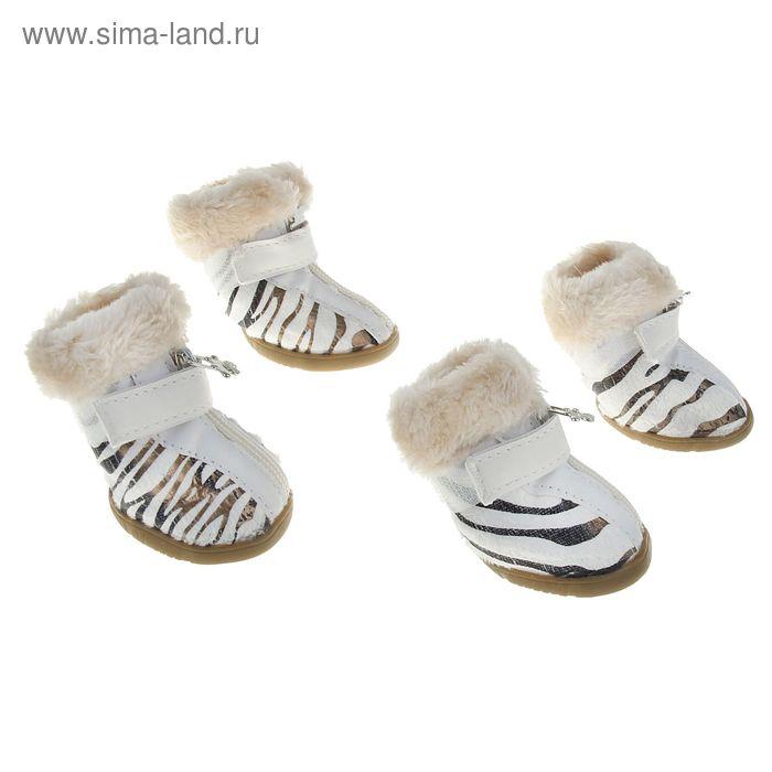 Ботинки белые со вставками, подкладка из искусственного меха, размер 5 (подошва 6 х 5 см)