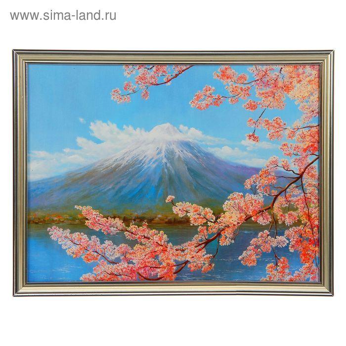 """Картина """"Сакура на фоне вулкана"""""""
