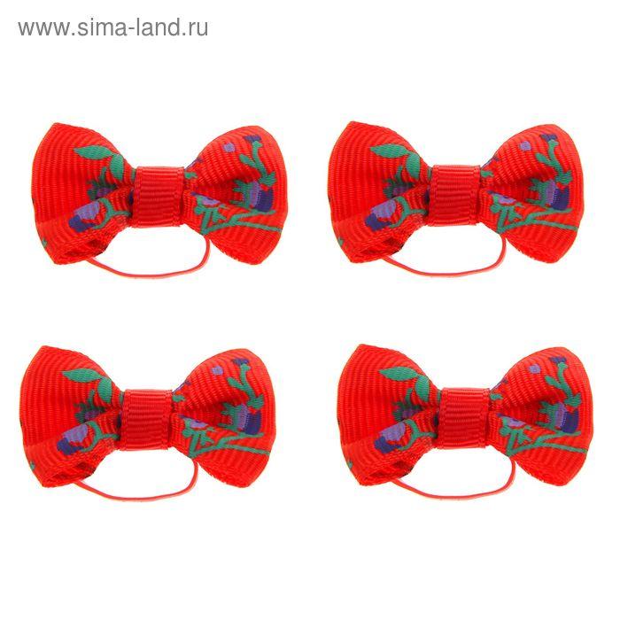 Бантик красный с цветами на латексной резинке, 3,5 * 2,5 см, набор 4 шт