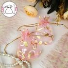 """Мешочек подарочный """"Сердечки"""" 9*7*0,1, цвет розовый с золотом"""