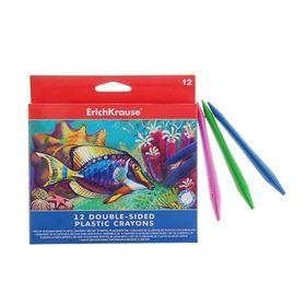 Мелки пластиковые 12 цветов Erich Krause, заточены с 2-х сторон 34928