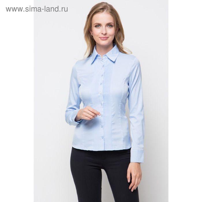 Блузка женская с длинным рукавом 905-1239, размер 48, цвет ярко-синий