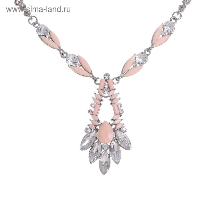 """Колье """"Кристалл"""", цвет розово-белый в серебре"""