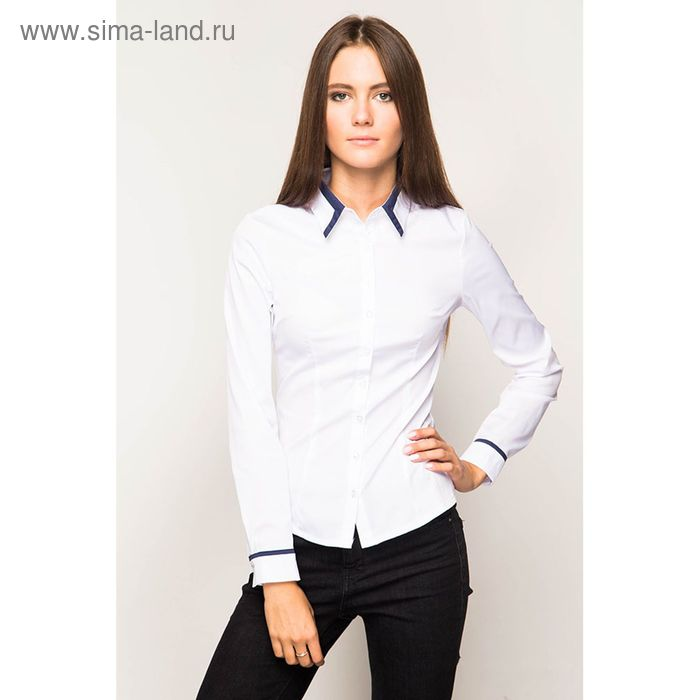 Блузка женская с длинным рукавом 905А-132158, размер 42, цвет белый