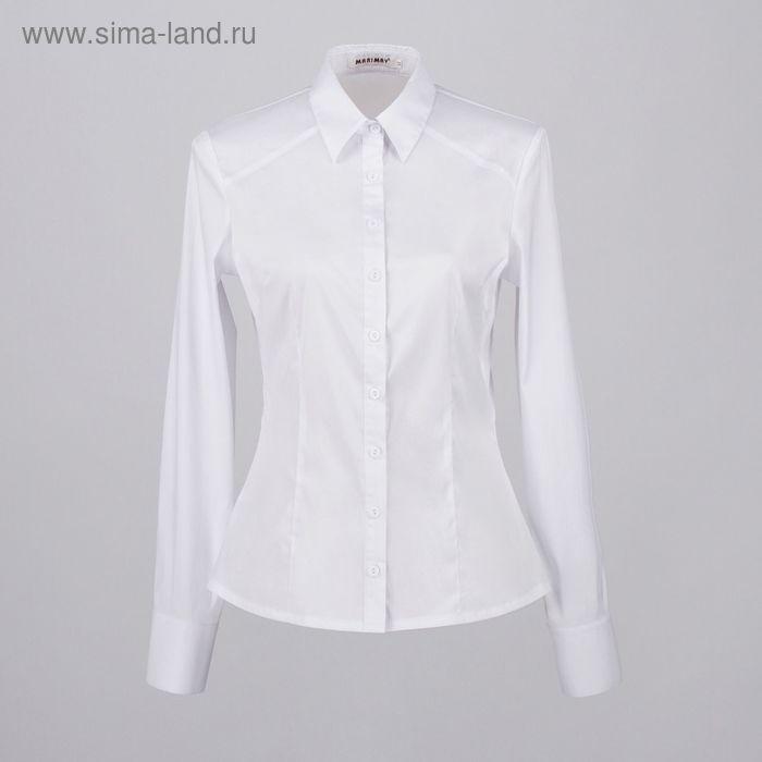 Блузка женская с длинным рукавом 905-8195, размер 48, цвет белый