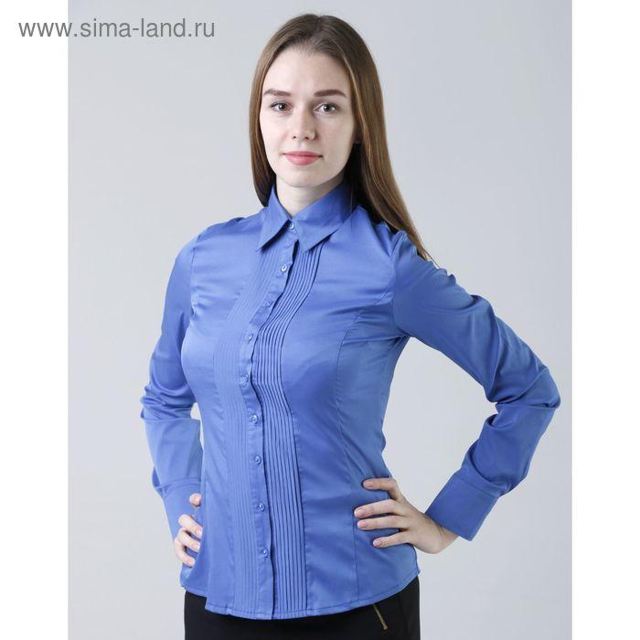 Блузка женская с длинным рукавом 905-1239, размер 42, цвет ярко-синий