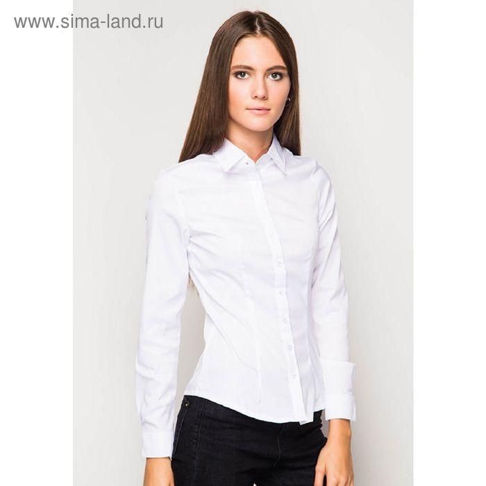 Блузка женская с длинным рукавом 905-132185L, размер 54, цвет белый